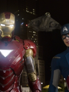 Iron Man and Captain America in a scene from Marvel's 'The Avengers'