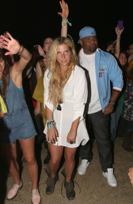 Kesha is seen in the audience during Day 3 of the 2012 Coachella Valley Music & Arts Festival at the Empire Polo Field in Indio, Calif., on April 15, 2012