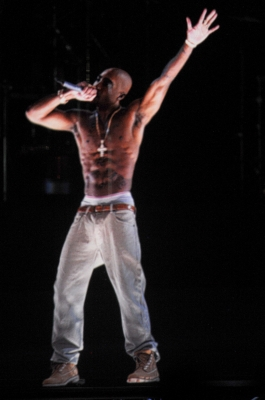 A holographic image of Tupac Shakur is seen performing during day 3 of the 2012 Coachella Valley Music & Arts Festival at the Empire Polo Field in Indio, Calif. on April 15, 2012