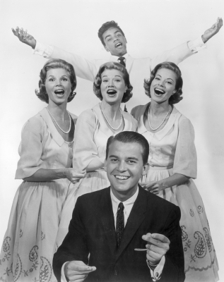 Dick Clark and the McGuire sisters &#8212; Christine, Dorothy and Phyllis &#8212; and Johnny Mathis, 1955
