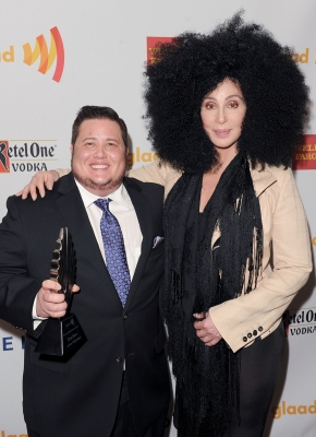 Chaz Bono and Cher backstage at the 23rd Annual GLAAD Media Awards in Los Angeles on April 21, 2012 