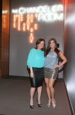 Caroline Manzo and Jacqueline Laurita celebrate the premiere of 'The Real Housewives of New Jersey' at The Chandelier Room at the W Hoboken, New Jersey, April 22, 2012