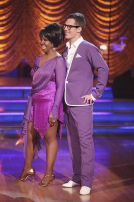 Gladys Knight and Tristan MacManus listen to the judges during Week 6, Motown week, on &#8216;Dancing,&#8217; April 23, 2012