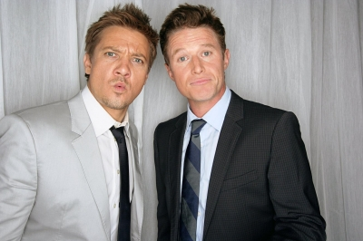 Jeremy Renner and Billy Bush try out a few model poses at CinemaCon 2012 in Las Vegas, Nevada on April 26, 2012