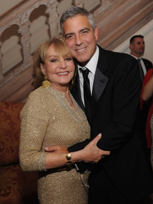 Barbara Walters and George Clooney are spotted at the Bloomberg & Vanity Fair cocktail reception following the 2012 White House Correspondents' Association Dinner at the residence of the French Ambassador in Washington, DC on April 28, 2012