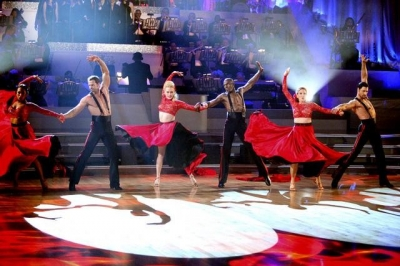 The shirtless men compete during the team paso doble round on 'Dancing,' Week 7, April 30, 2012