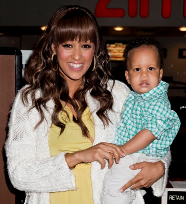 Tia Mowry and her son, Cree Hardrict, host TheBump and AMC Theatres' 'Bring Your Baby Matinees' at AMC Promenade 16, Woodland Hills, on May 1, 2012