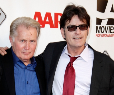 Martin Sheen and Charlie Sheen attend AARP Movies for Grownups film festival - 'The Way' premiere at Nokia Theatre L.A. Live, Los Angeles, on September 23, 2011