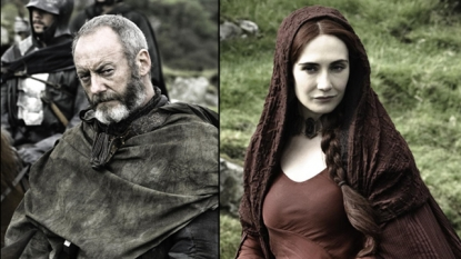 Liam Cunningham as Davos Seaworth, Carice van Houten as Melisandre in 'Game of Thrones' Season 2