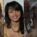 Amrita Acharia as Irri; Amrita in her Access Hollywood interview; Emilia Clarke as Daenerys in &#8216;Game of Thrones&#8217;