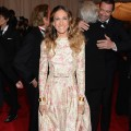 Sarah Jessica Parker wears a floral print at the 'Schiaparelli And Prada: Impossible Conversations' Costume Institute Gala at the Metropolitan Museum of Art in New York City on May 7, 2012