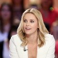Charlize Theron takes part in the TV show 'Le grand journal' on a set of French TV Canal+, Paris, on May 9, 2012