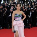 Freida Pinto shows off a pink gown at the opening ceremony and 'Moonrise Kingdom' premiere during the 65th Annual Cannes Film Festival at Palais des Festivals in Cannes, France on May 16, 2012