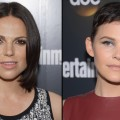 Lana Parrilla and Ginnifer Goodwin attend the Entertainment Weekly & ABC-TV Up Front VIP Party at Dream Downtown, New York City, on May 15, 2012
