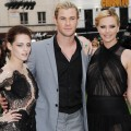 Kristen Stewart, Chris Hemsworth and Charlize Theron attend the world premiere of &#8216;Snow White and The Huntsman&#8217; at in London on May 14, 2012
