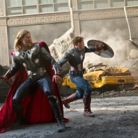 Chris Hemsworth and Chris Evans in a scene from 'The Avengers'