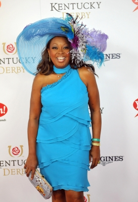 Star Jones is bright in blue as she arrives at the 138th Kentucky Derby at Churchill Downs in Louisville, KY, on May 5, 2012
