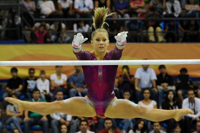 Shawn Johnson of the United States competes in the Women's Artistic Gymnastics Finals in Uneven Bars during Day 13 of the XVI Pan American Games at the Revolution Sports Complex in Guadalajara, Mexico, on October 27, 2011