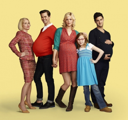Ellen Barkin as Jane, Andrew Rannells as Bryan, Georgia King as Goldie, Bebe Wood as Shania and Justin Bartha as David in &#8216;The New Normal&#8217; on NBC, airing Tuesdays at 9:30 in Fall 2012