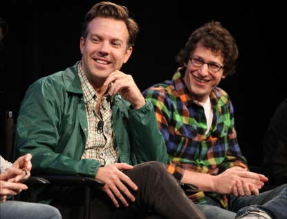 Jason Sudeikis and Andy Samberg are seen during the 2010 New Yorker Festival at Acura at SIR Stage37 in New York City on October 3, 2010 