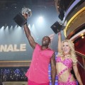 Donald Driver and Peta Murgatroyd celebrate winning the Season 14 'Dancing with the Stars' mirrorball on May 22, 2012