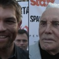 Liam McIntyre and Kirk Douglas in Los Angeles, May 31, 2012