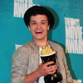 Josh Hutcherson poses with his award for 'Best Male Performance' for his role in 'The Hunger Games,' in the press room at the MTV Movie Awards at Universal Studios, in Los Angeles on June 3, 2012