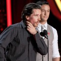 Christian Bale and Joseph Gordon-Levitt speak onstage during the 2012 MTV Movie Awards held at Gibson Amphitheatre in Universal City, Calif. on June 3, 2012