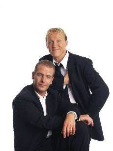 Robson Green and Jerome Flynn pose at a studio session in London on August 1, 1998