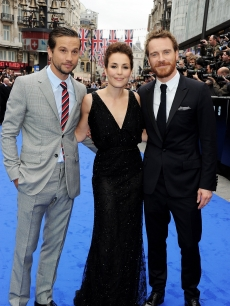 Logan Marshall-Green, Noomi Rapace and Michael Fassbender step out at the world premiere of 'Prometheus' in London on May 31, 2012