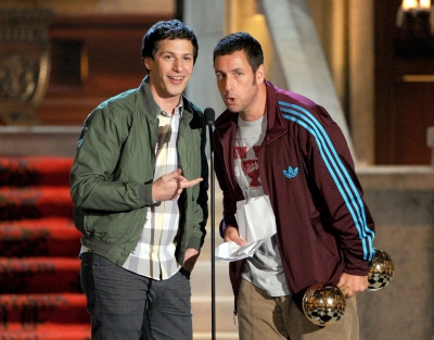 Andy Samberg and Adam Sandler speak at Spike TV's 6th Annual 'Guys Choice Awards' at Sony Pictures Studios in Culver City, Calif., on June 2, 2012