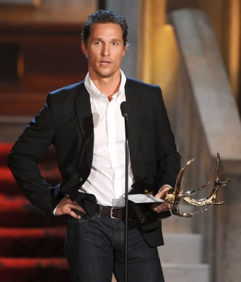 Mathhew McConaughey speaks at Spike TV&#8217;s 6th Annual &#8216;Guys Choice Awards&#8217; at Sony Pictures Studios in Culver City, Calif., on June 2, 2012