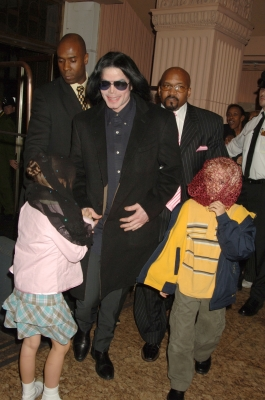 Michael Jackson visits Harrods in London, England with his children Paris Jackson and Prince Jackson on October 11, 2005