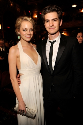 Emma Stone and Andrew Garfield steps out at the 66th Annual Tony Awards at The Beacon Theatre in New York City on June 10, 2012