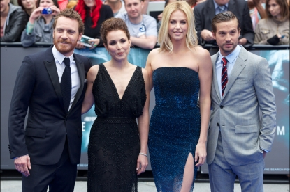 Michael Fassbender, Noomi Rapace, Charlize Theron and  Logan Marshall-Green pose on the red carpet to attend the world premiere of the film 'Prometheus' in London on May 31, 2012
