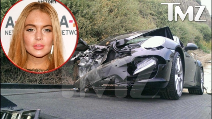 Porshe reportedly belonging to Lindsay Lohan following crash on June 8, 2012; inset: Lindsay Lohan
