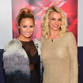 Demi Lovato and Britney Spears are seen at 'The X Factor' auditions at Oracle Arena in Oakland, Calif. on June 16, 2012
