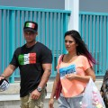 DJ Pauly D  and Jenni 'JWoww' Farley sighted on location for 'Jersey Shore' at Seaside Heights, New Jersey on June 19, 2012