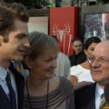 Andrew Garfield with mom Lynn and dad Richard on the red carpet at the Los Angeles premiere of 'The Amazing Spider-Man,' LA, June 28, 2012