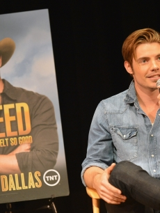 Josh Henderson answers fan questions during TNT's 'Dallas' screening and cast appearance at the Country Music Hall of Fame and Museum at the CMA Music Festival,Nashville, Tenn., on June 9, 2012
