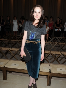 'Downton Abbey' star Michelle Dockery attends the Burberry Prorsum show as part of Milan Fashion Week Menswear Spring/Summer 2013 in Milan, Italy on June 23, 2012