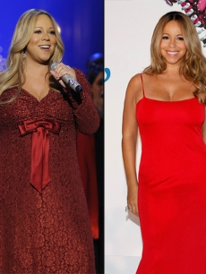 Mariah Carey in 2009 (left) and in 2010 (right)