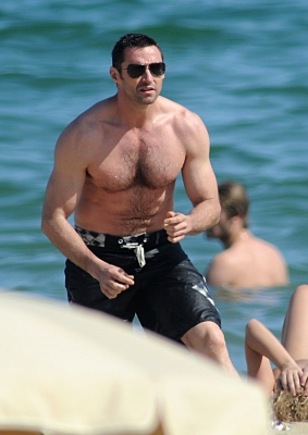 Hugh Jackman is seen on the beach in Barcelona, Spain on June 20, 2012