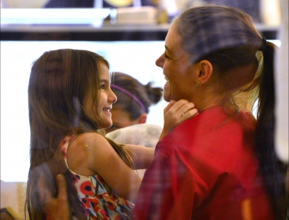 Katie Holmes and daughter Suri Cruise visit Sundaes and Cones in the East Village in New York City on July 3, 2012