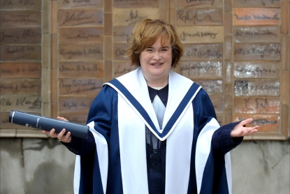 Susan Boyle receives an honorary degree at Queen Margaret University in Edinburgh, Scotland on July 6, 2012