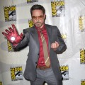 Robert Downey Jr. rocks an Iron Man glove at Marvel Studios &#8216;Iron Man 3&#8217; panel during Comic-Con 2012 in San Diego on July 14, 2012