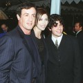 Sylvester Stallone with his girlfriend and his son Sage at the premiere of 'Daylight in Los Angeles in December 1996