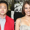 Steven Yeun and Lauren Cohan at 'The Walking Dead' 100th Issue Black-Carpet event powered by Hyundai and Future US at PETCO Park on July 13, 2012