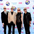 Tom Dumont, Adrian Young, Gwen Stefani and Tony Ashwin Kanal of No Doubt step out at the 2012 Teen Choice Awards at Gibson Amphitheatre in Universal City, Calif., on July 22, 2012
