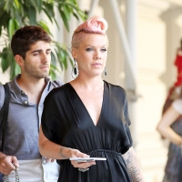 Pink is spotted rocking her signature pink locks in New York City on July 13, 2012